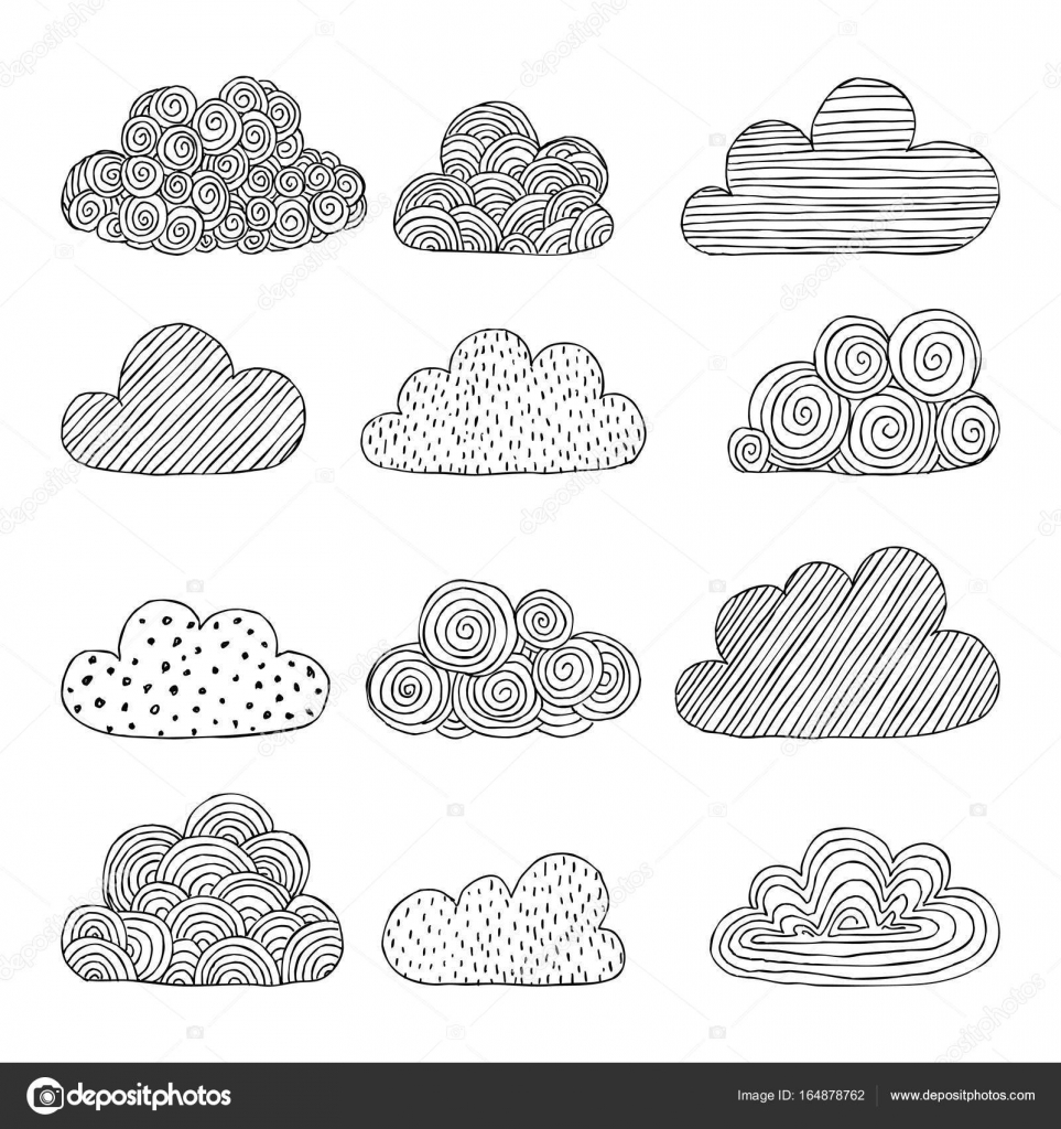 Beautiful Set Of Doodle Clouds Isolated Sketch Design Background