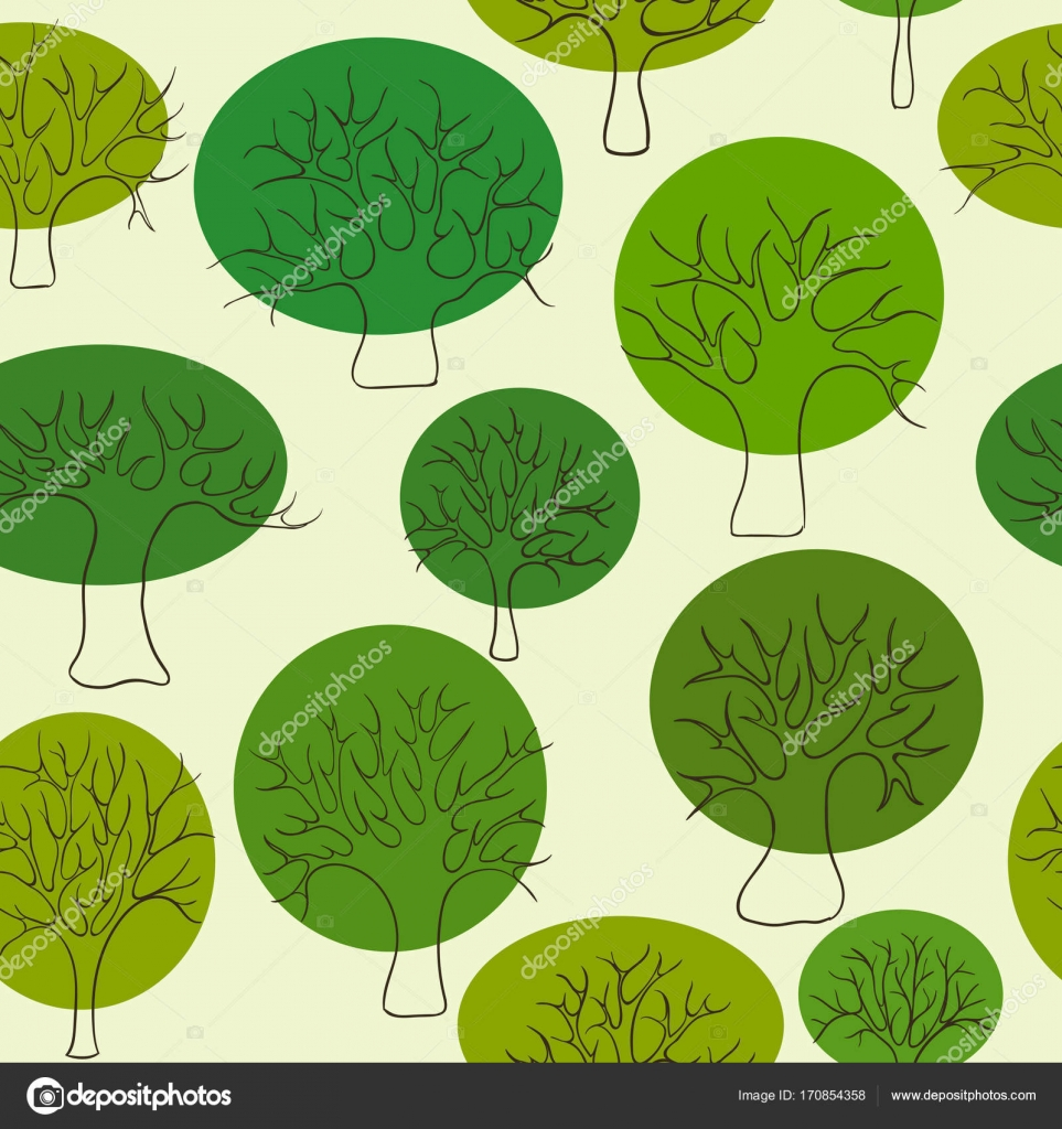 Beautiful Seamless Pattern Of Hand Drawn Doodle Green Trees Circle