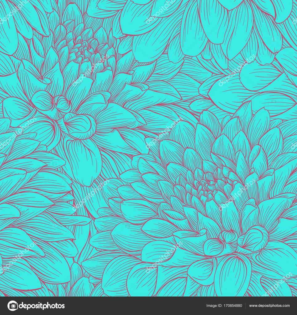 Piękne Kolory Vintage Monochromatyczne Bezszwowe Tło Dalia Rysowane