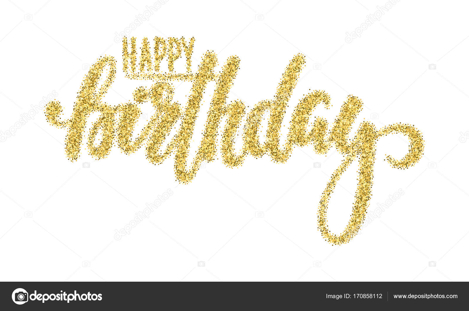 Happy birthday gold sparkles glitter effect hand drawn