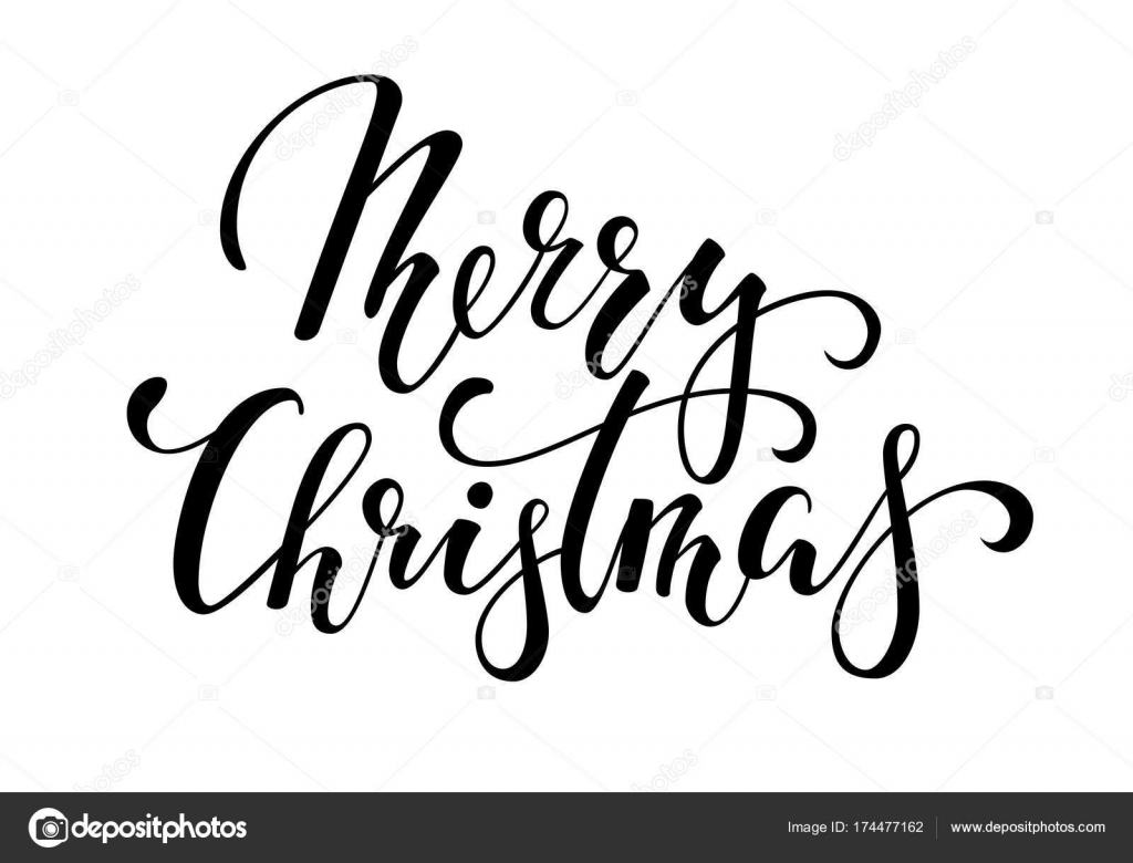 Merry Christmas. Hand drawn creative calligraphy and brush pen ...