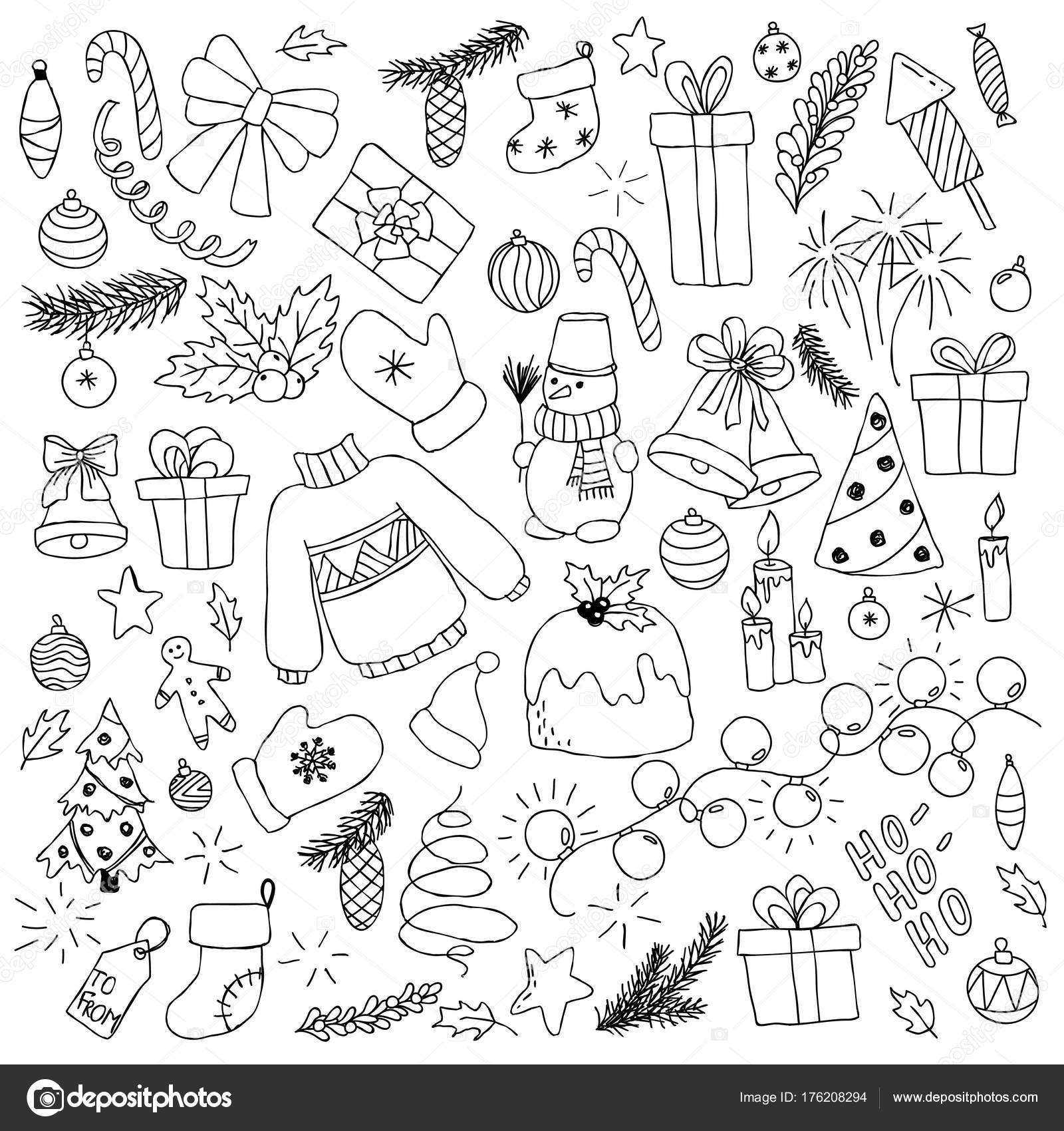 Happy New Year And Merry Christmas Doodle Set Design For Holiday
