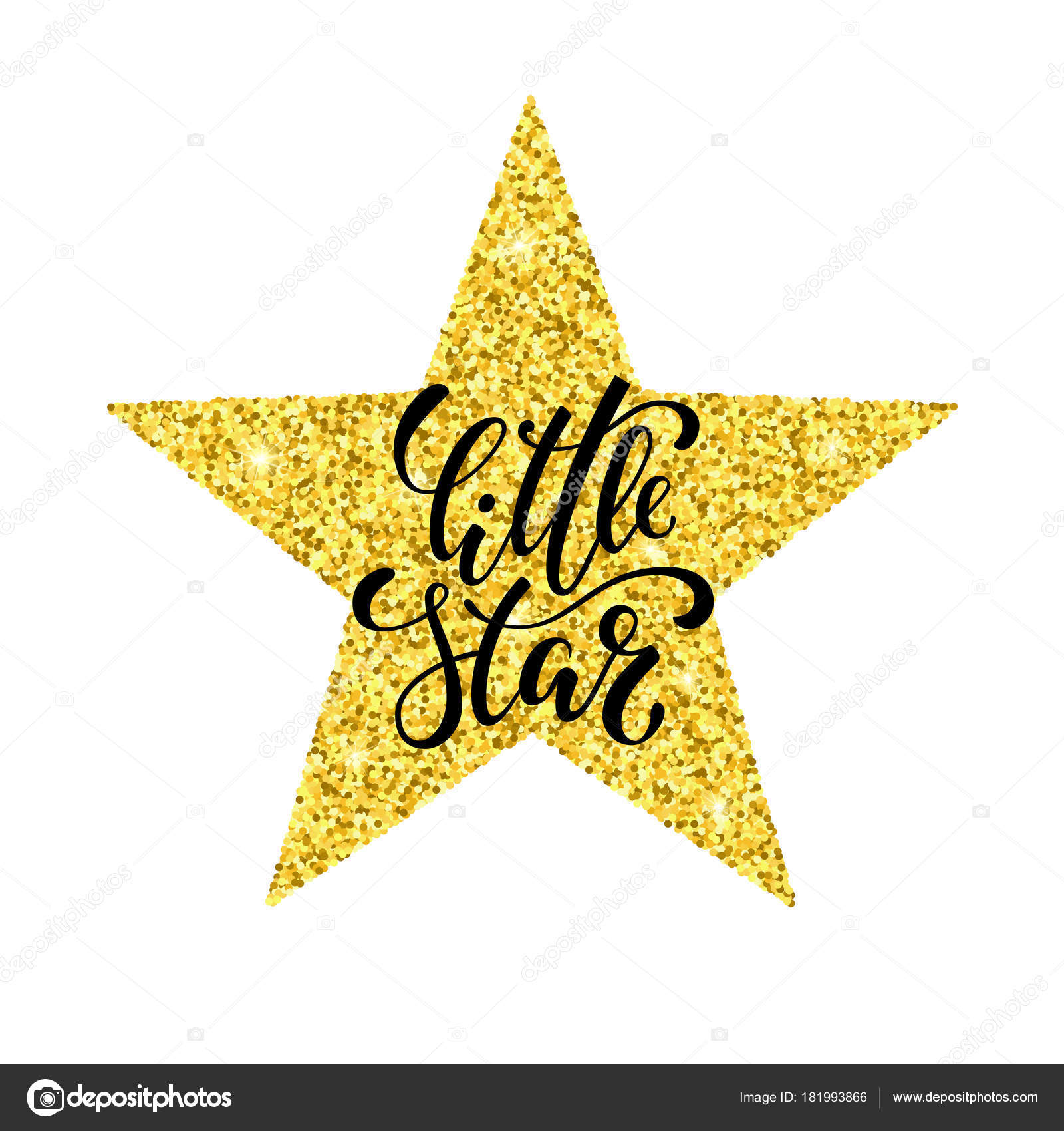 Little star hand drawn creative calligraphy and brush pen little star hand drawn creative calligraphy and brush pen lettering on gold glitter star isolated on white background design holiday greeting cards kristyandbryce Images