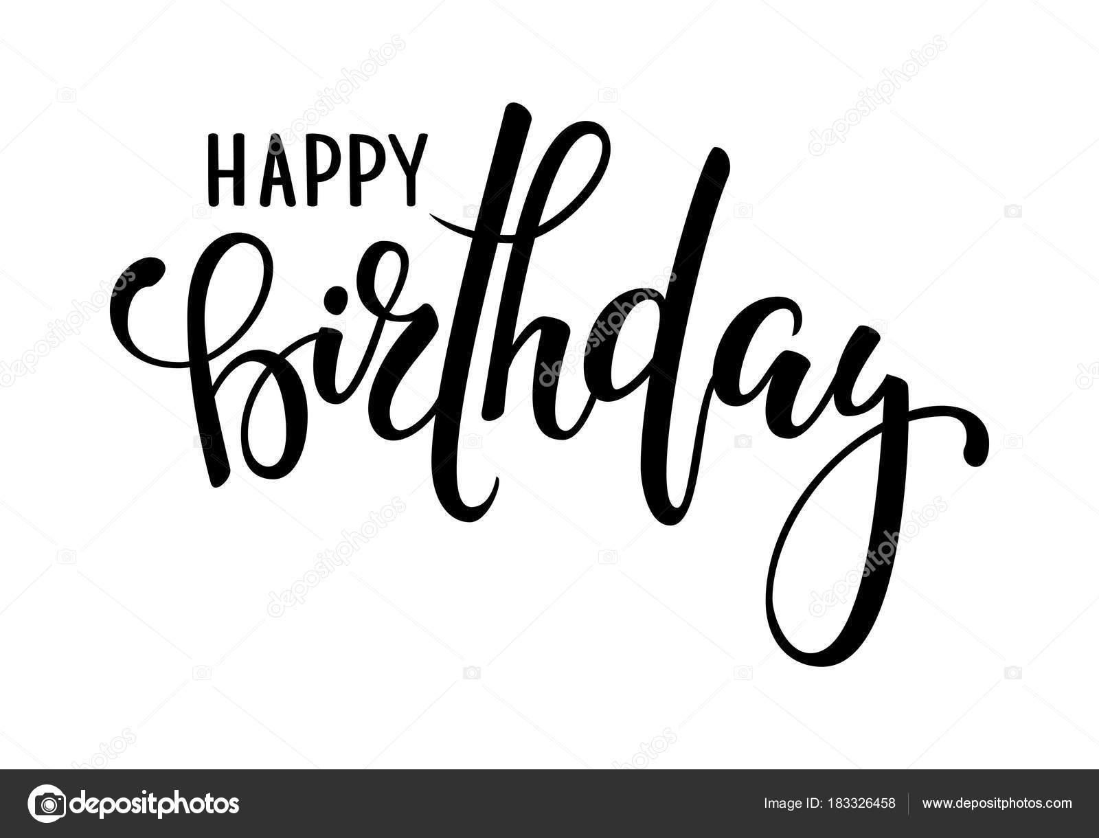 Feliz cumpleaños mano dibuja letras de caligrafía y