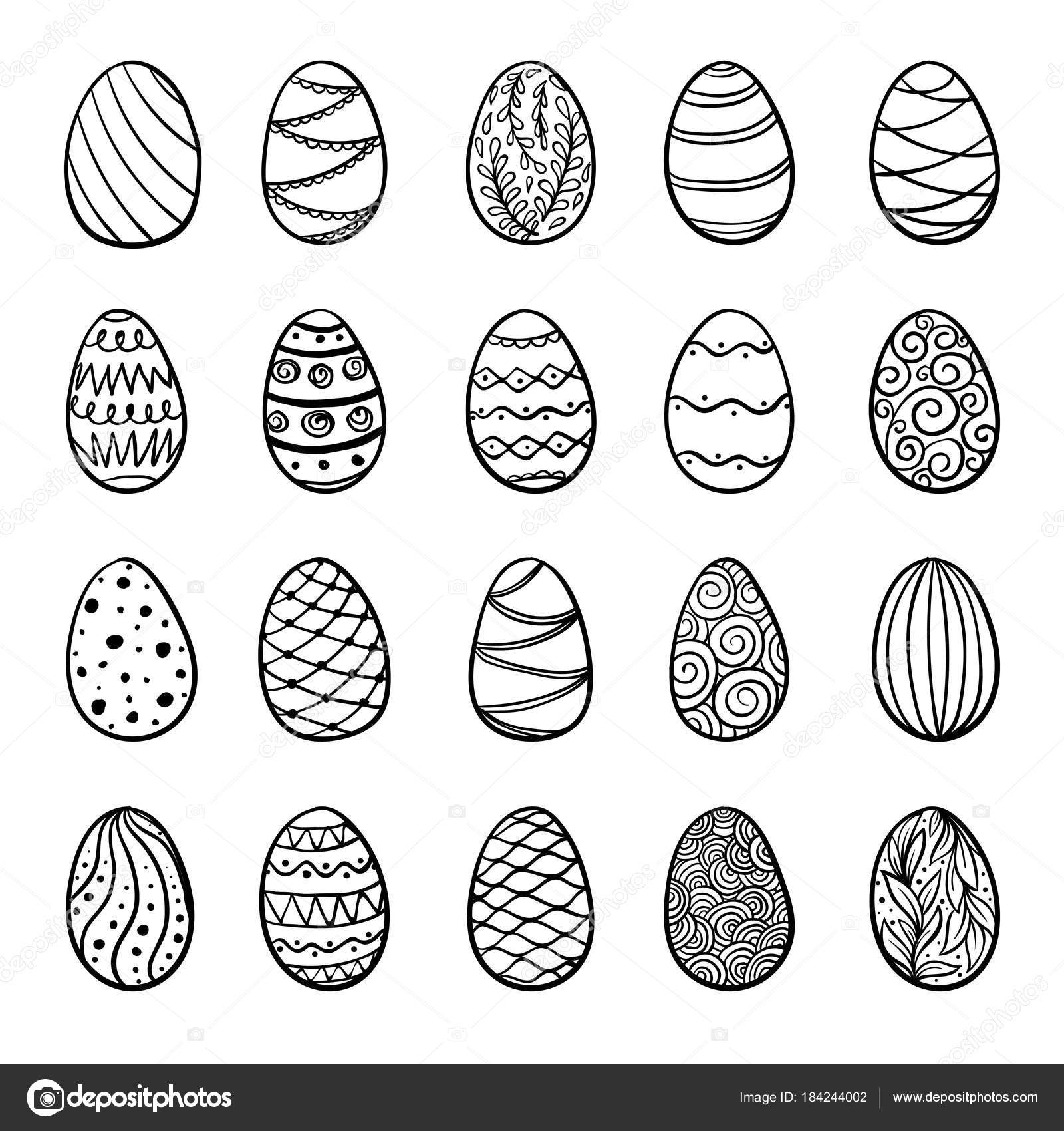 Beautiful Set Of Doodle Easter Eggs Isolated Sketch Design