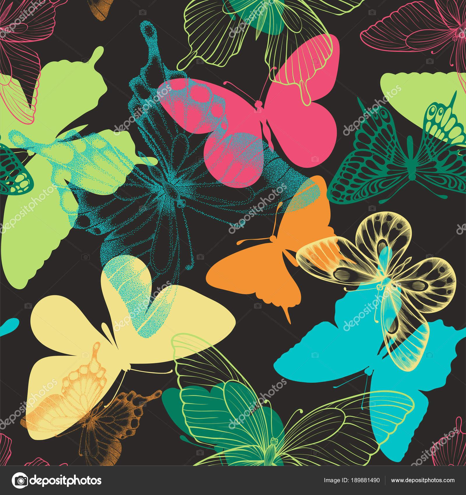 Patrón Transparente Con Mariposas Decorativas En Estilo