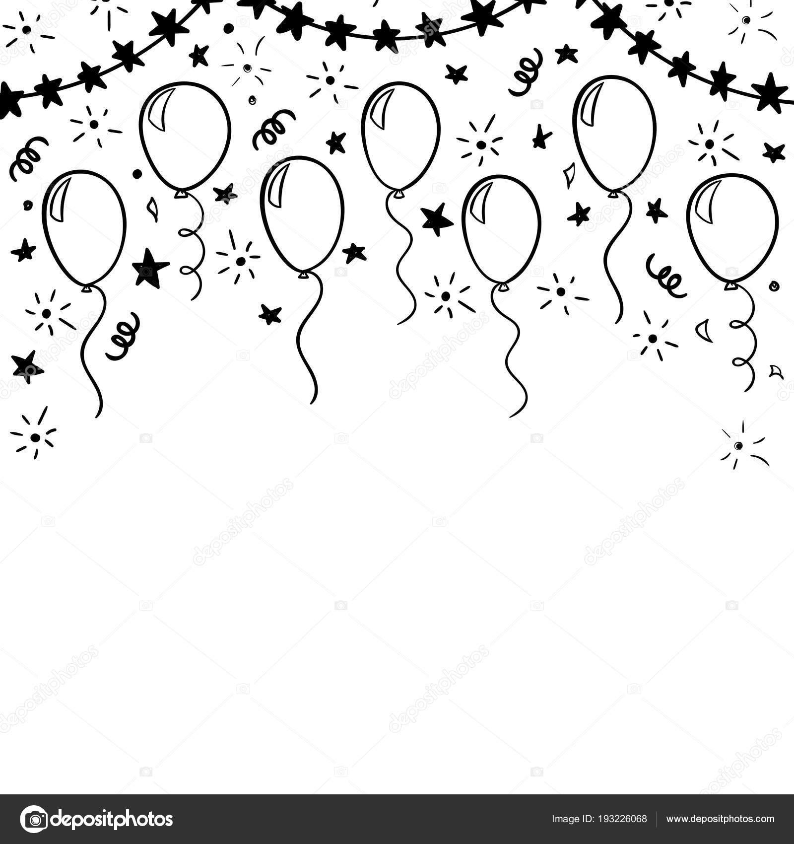 Украшения для открытки на день рождения черно белые