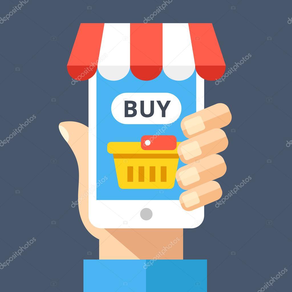 81d99ca434df47 Ręka gospodarstwa smartphone z koszyk i kupić przycisk na ekranie i ozdobne  markizy. E-commerce, sklep internetowy, sklep internetowy, e-commerce  concepts.