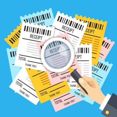 Many receipts and hand holding magnifying glass. Many bills, checks and magnifier. Budget, finances, financial analysis, income and expenses, accounting concept. Modern flat design vector illustration