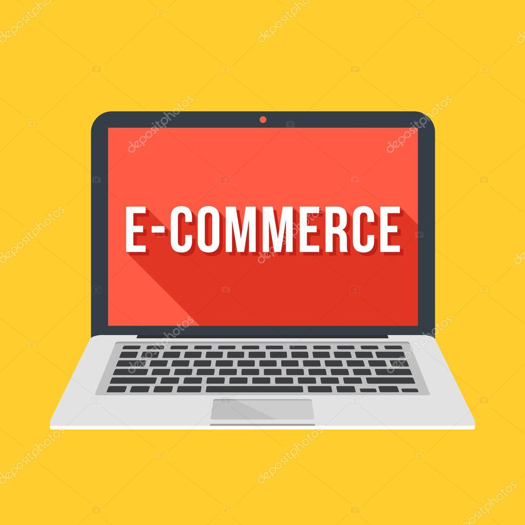 modern laptop with e commerce word on screen ecommerce electronic