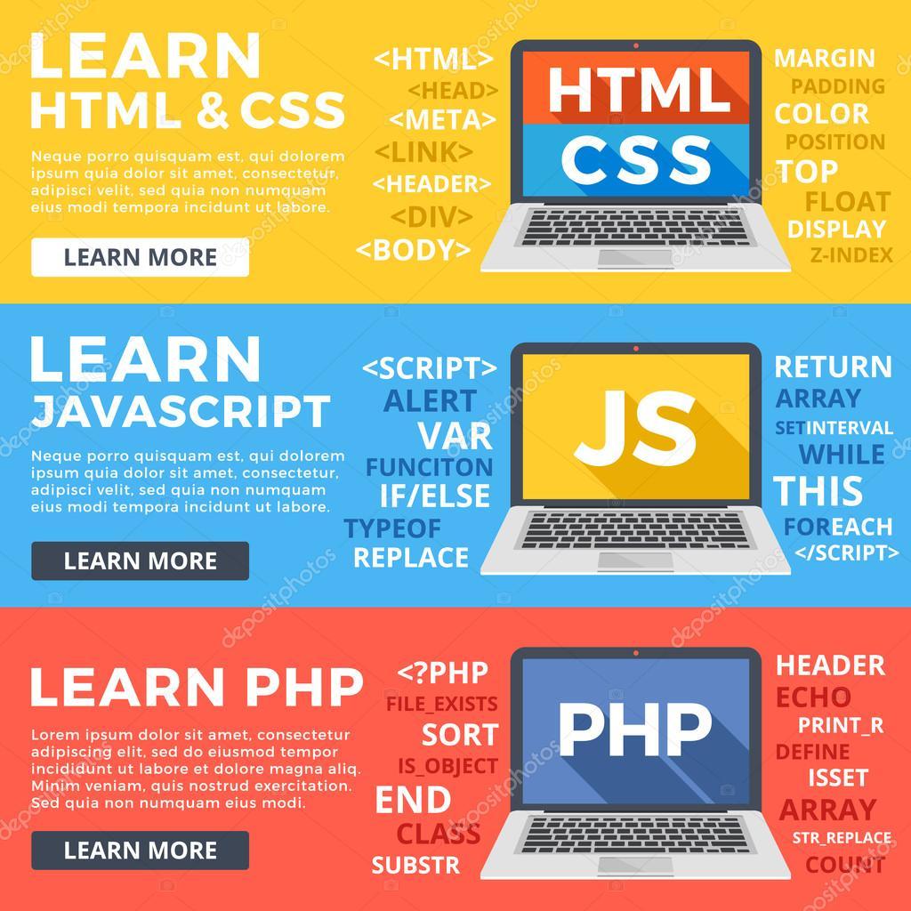 Aprender Html y Css, aprender Php y Javascript ilustración plana ...