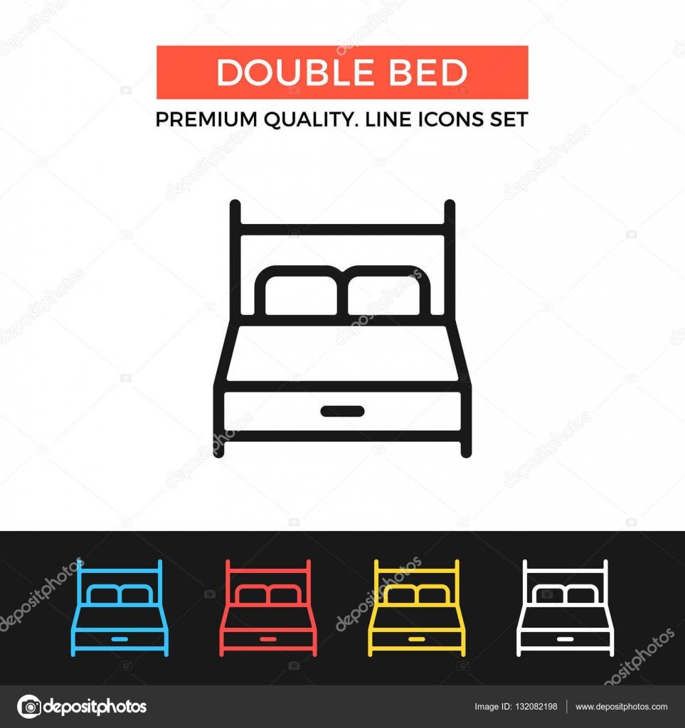 Icono de vector cama doble. Icono de línea delgada — Archivo ...