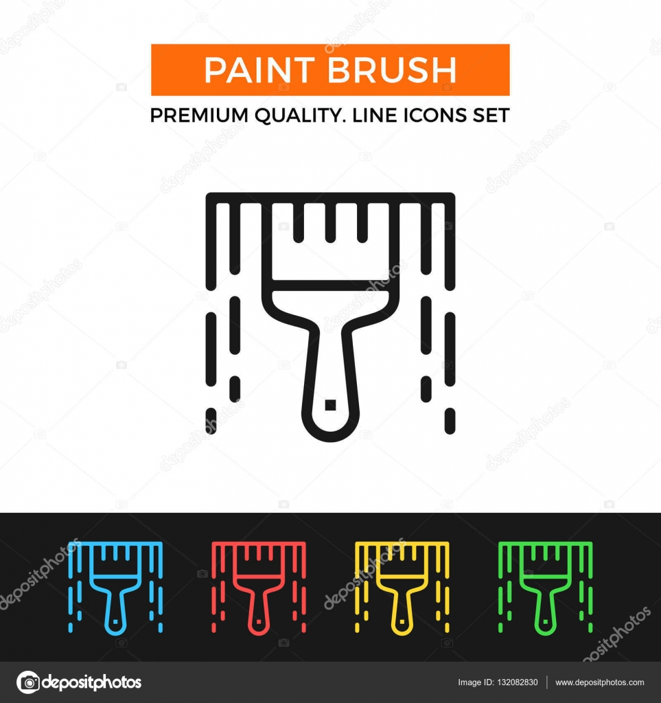 Vector paint brush icon thin line icon stock vector magurok5 modern signs outline symbols collection simple thin line icons set for websites web design mobile app infographics vector by magurok5 buycottarizona Choice Image