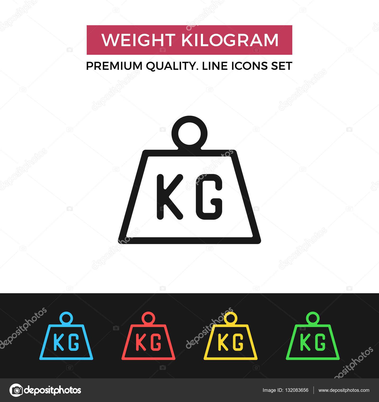 Vector Weight Kilogram Icon Thin Line Icon Stock Vector