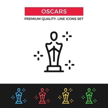 Vector Academy Awards icon. Oscar statuette. Thin line icon