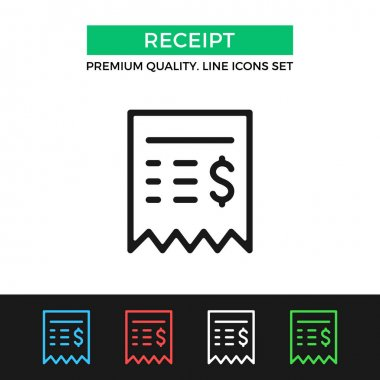 Vector sales receipt icon. Thin line icon