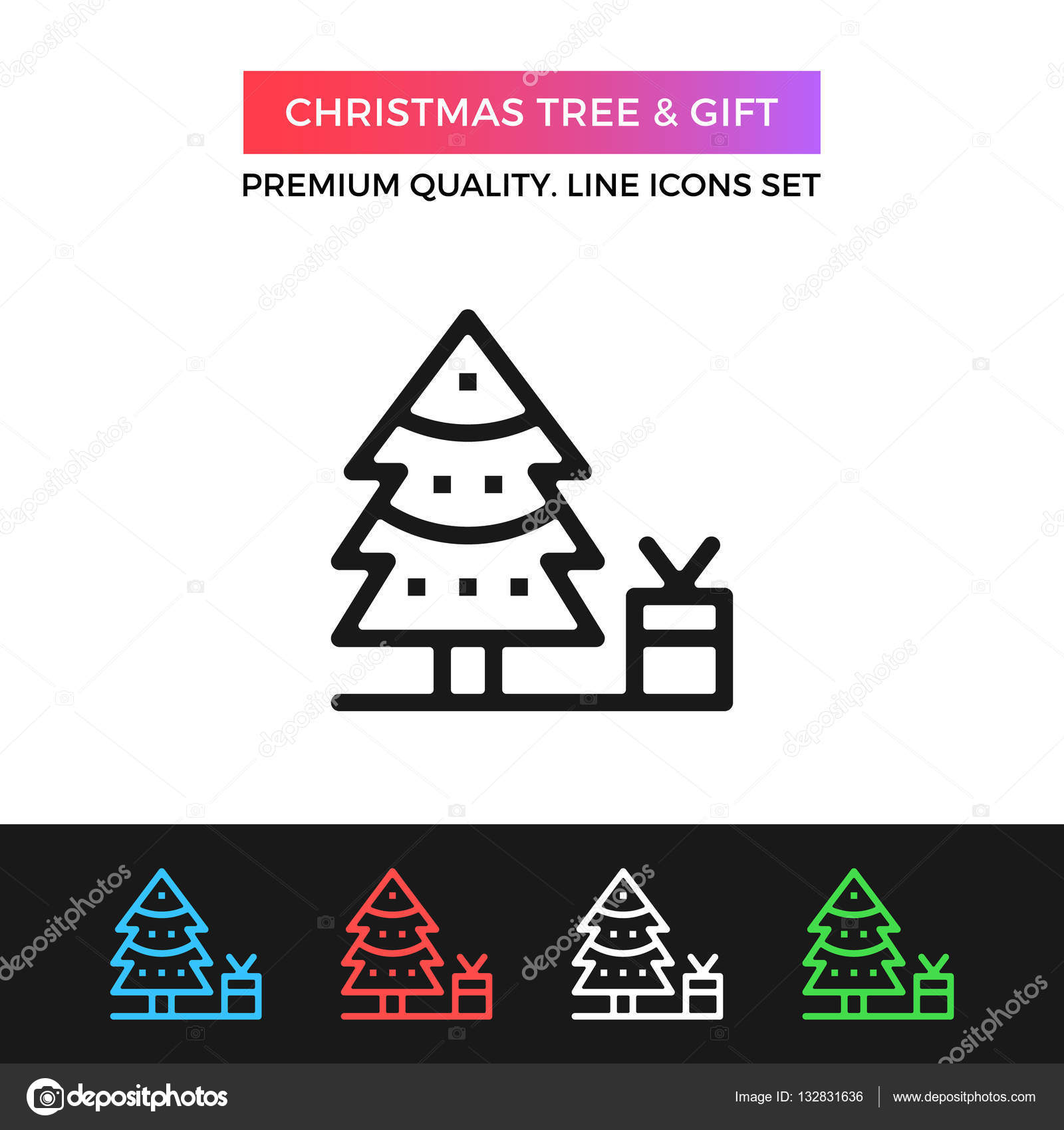 Vector Christmas tree and gift icon. Thin line icon — Stock Vector ...