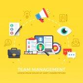 Fotografie Team management. Human resources. Flat design graphic elements, symbols, line icons set. Premium quality. Modern concept for web banners, websites, infographics, printed materials. Vector illustration