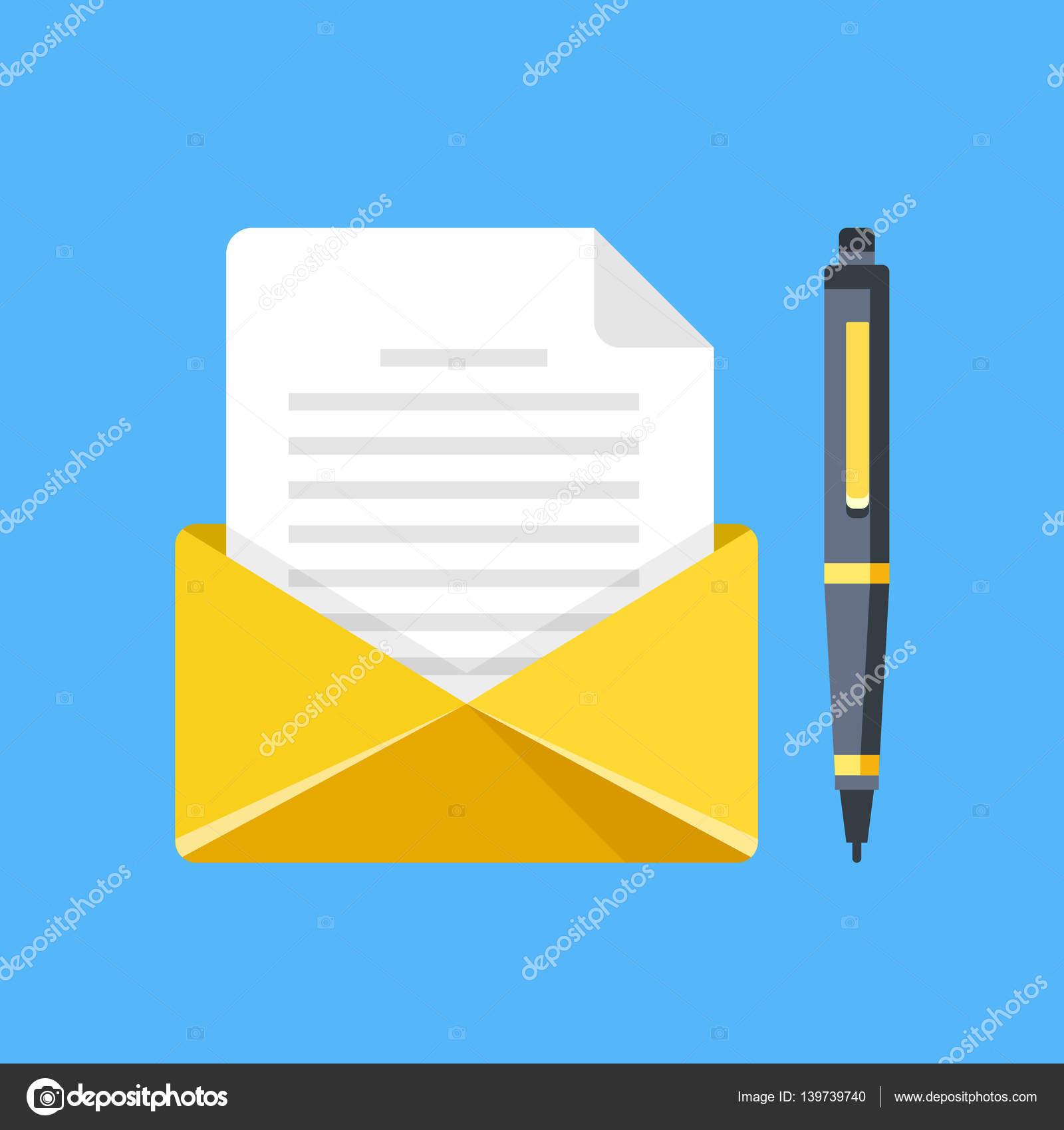 Umschlag Mit Brief Und Stift Schreiben Sie Einen Brief E Mail E