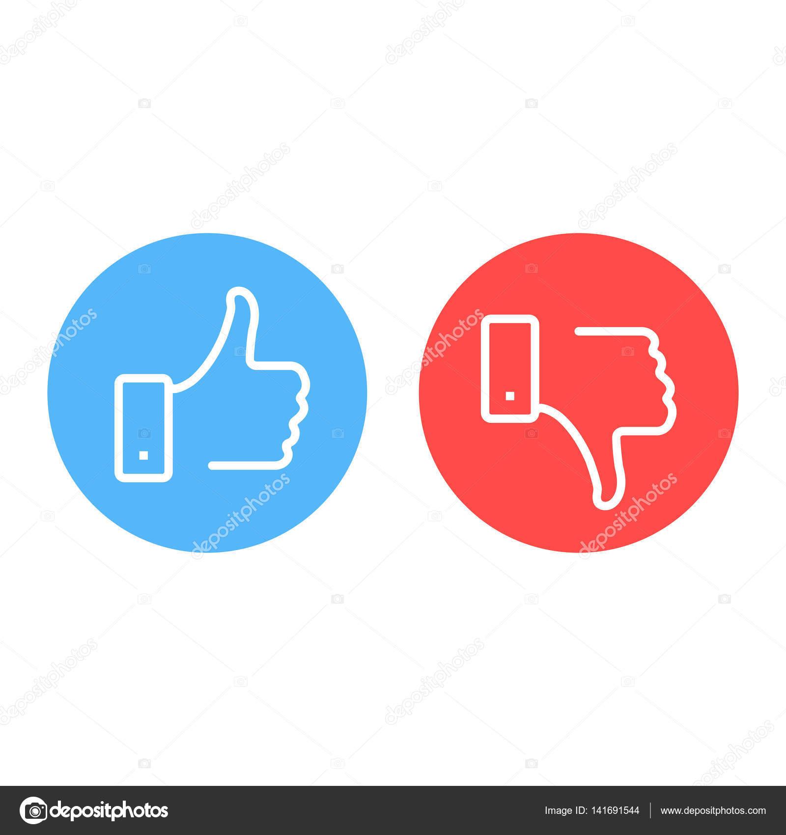 like and dislike icons set thumbs up and thumbs down