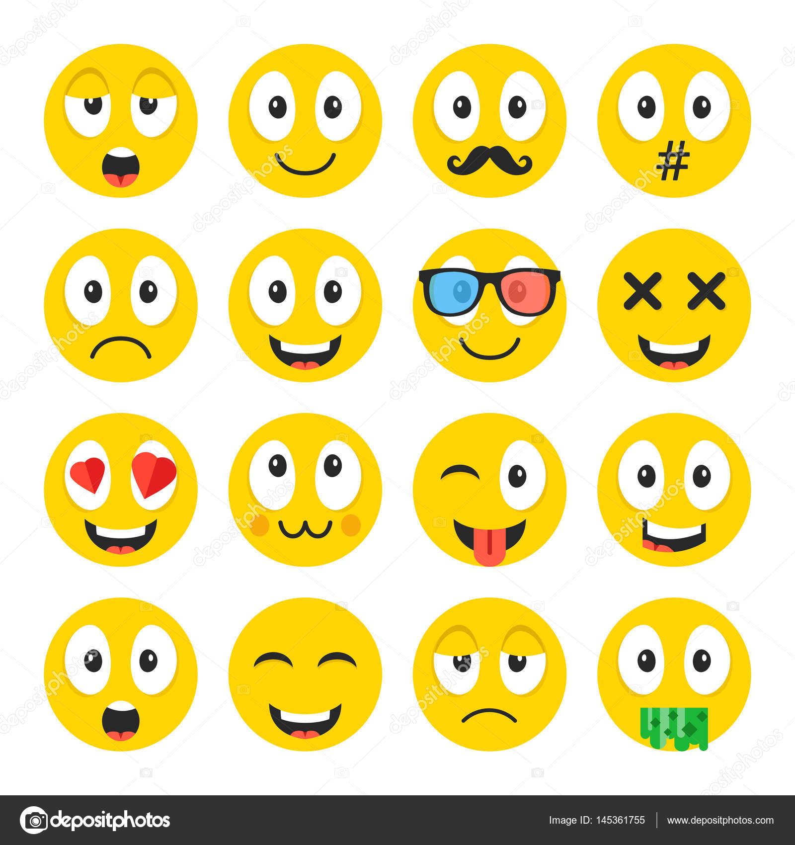 Emoji Ensemble émoticônes De Drôles De Dessin Animé Smiley