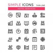 Fotografie Hoteldienstleistungen und Einrichtungen des Hotels Vektor-dünne Linie Icons Set. 32 x 32 px. Moderne Linie Grafik-Design-Konzepte für Websites, Webdesign, mobile app, Infografiken. Pixel-perfekte Vektor-Gliederung-Icons set
