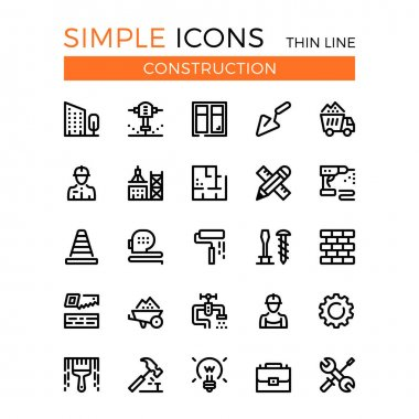 Construction, civil engineering, building vector thin line icons set. 32x32 px. Line graphic design concepts for websites, web design, mobile app, infographics. Pixel perfect vector outline icons set