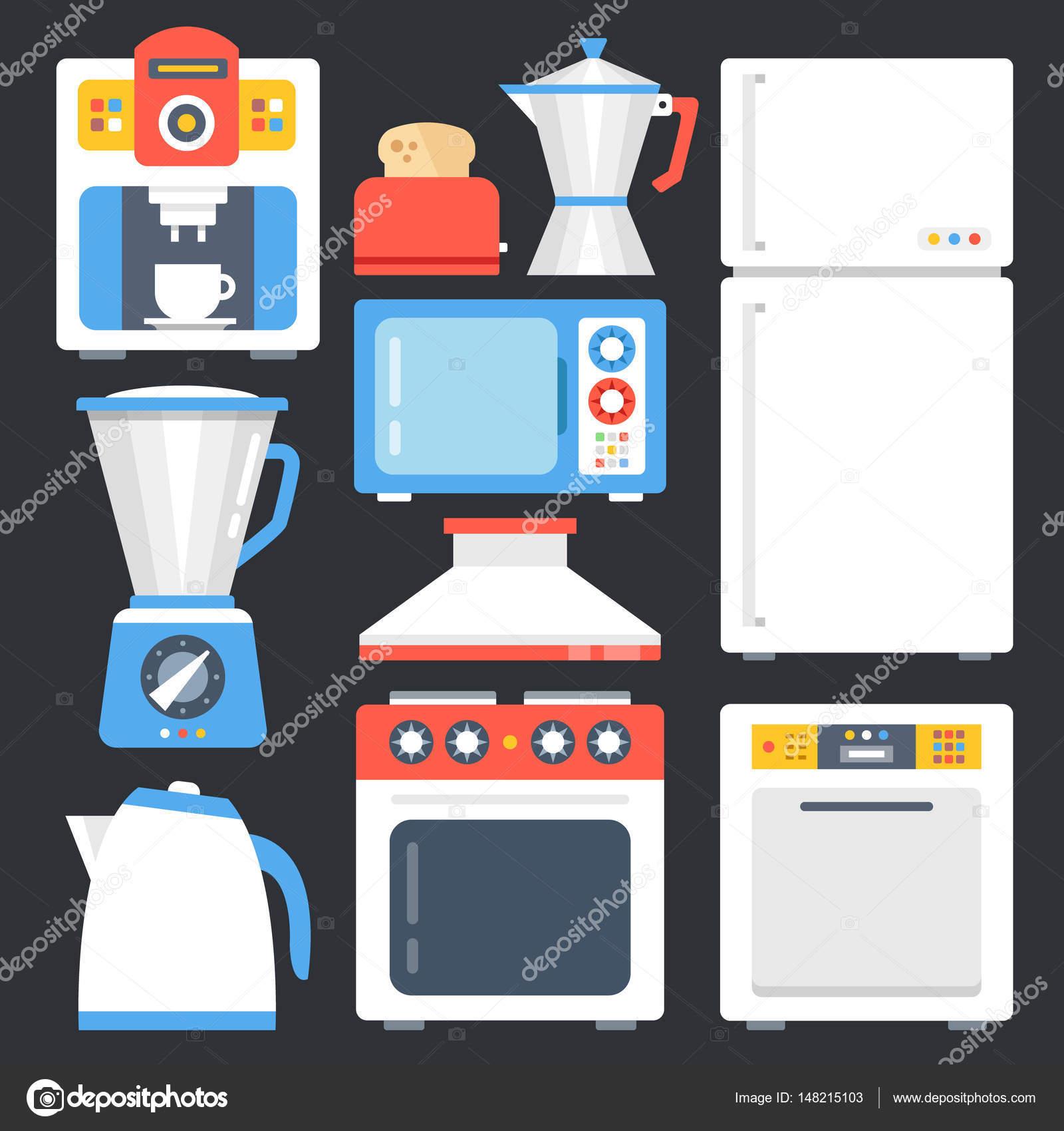Aparatos de cocina, aparatos domésticos, hogar establecido. Conjunto ...
