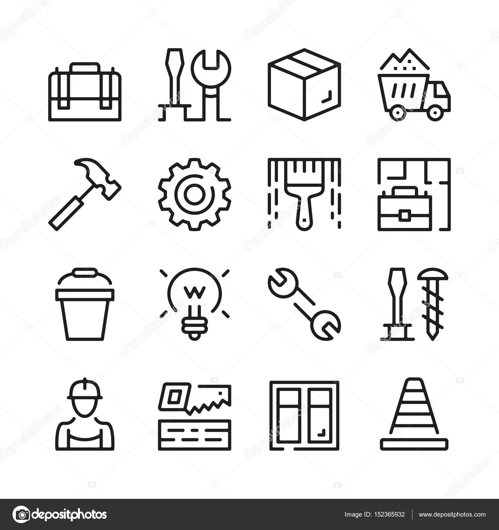 Home repair, work tools line icons set. Modern graphic design ...