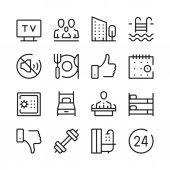 Fotografie Hoteldienstleistungen und Annehmlichkeiten des Hotels säumen Icons Set. Moderne Grafik-Design-Konzepte, einfache Gliederung Kollektion Elements. Vektor-Linie-icons