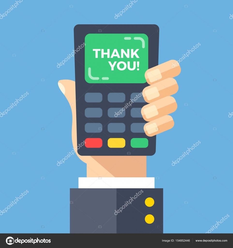 ff79af59f Máquina de cartão de crédito com palavras de agradecimento. Mão segurando o ponto  de venda, PDV, pagamento terminal com gratidão ao cliente na tela.