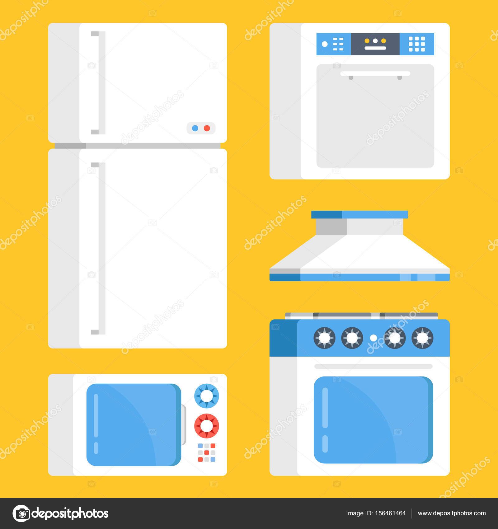 Küchengeräte set. Weißen Kühlschrank, Mikrowelle, Elektroherd ...