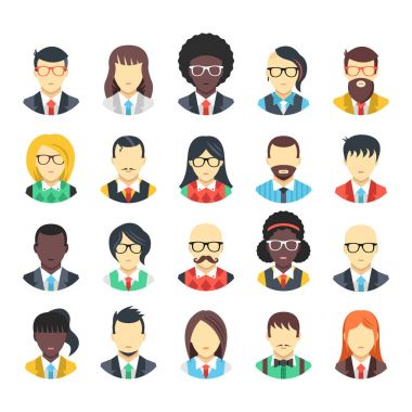 People avatars icons set. Business people, office workers, white collars wearing suits, ties, vests, shirts, office clothes. Men and women characters. Modern vector icons
