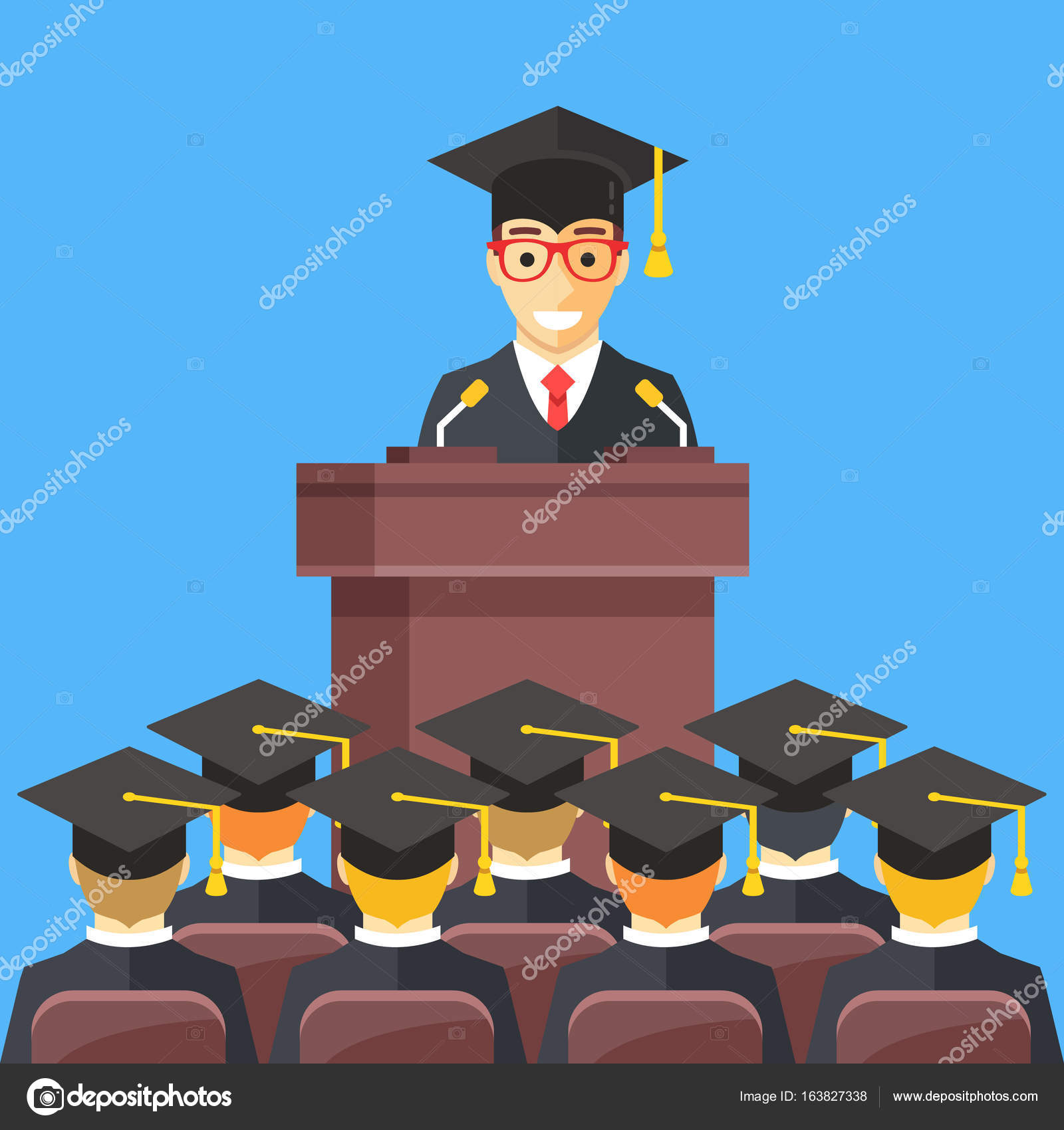 Man at lectern wearing graduation gown, mortarboard in auditorium ...