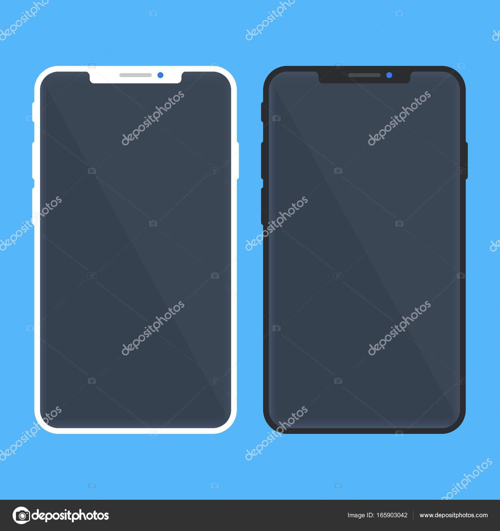 Weiße und schwarze Smartphone-Modell mit schwarzem Bildschirm ...