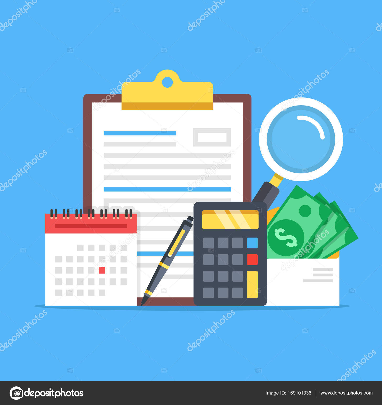 payroll expenses salary calculation concept flat design graphic