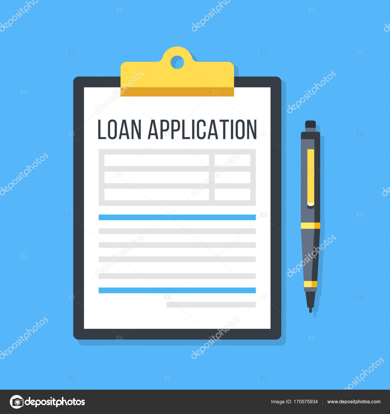 Vector loan application form. Clipboard and pen — Stock Vector ...