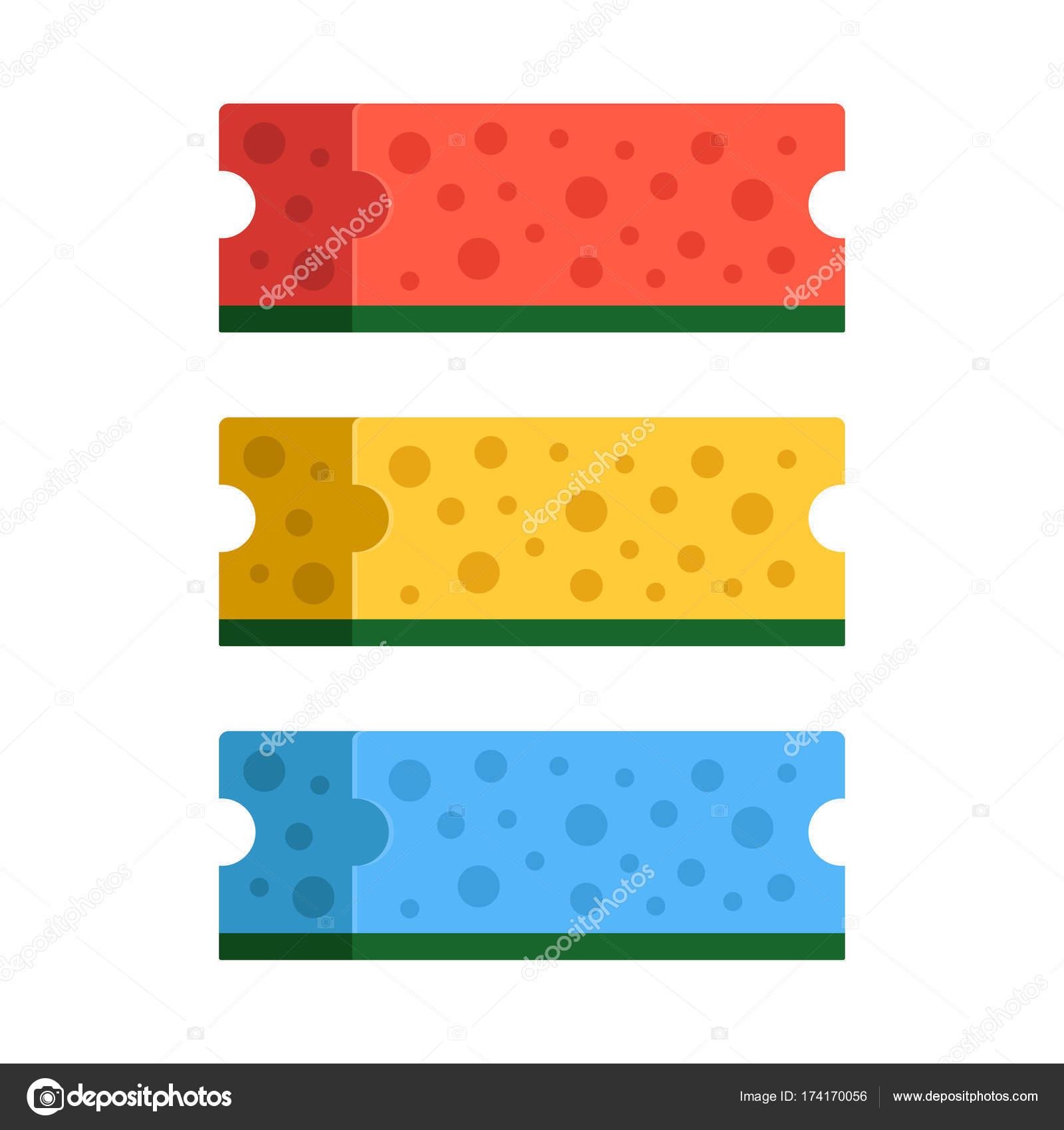 Kuche Schwamme Set 3 Bunte Reinigungs Schwamme Rot Gelb Und Blau
