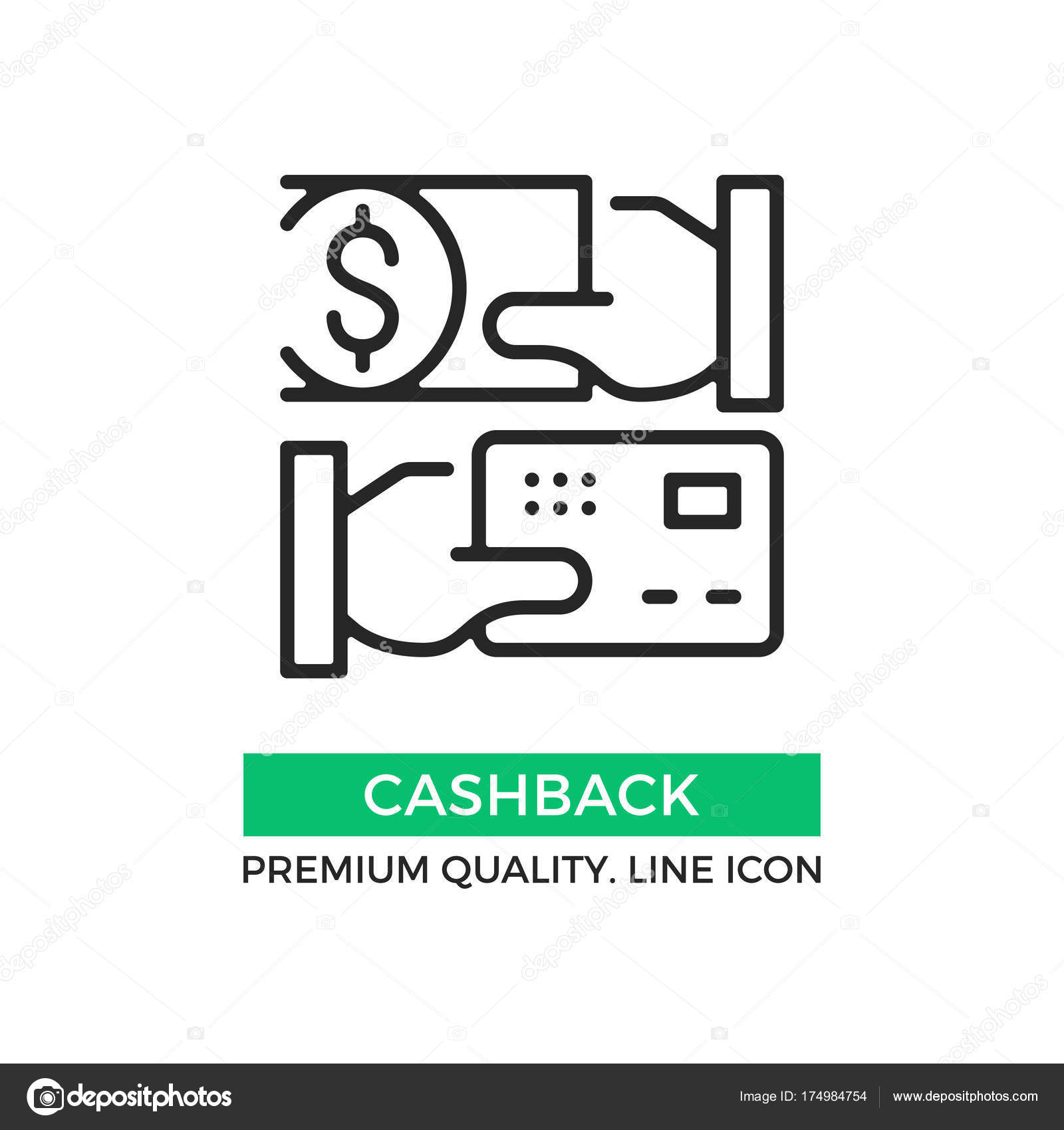 vector cashback icon cash back hand holding credit card hand