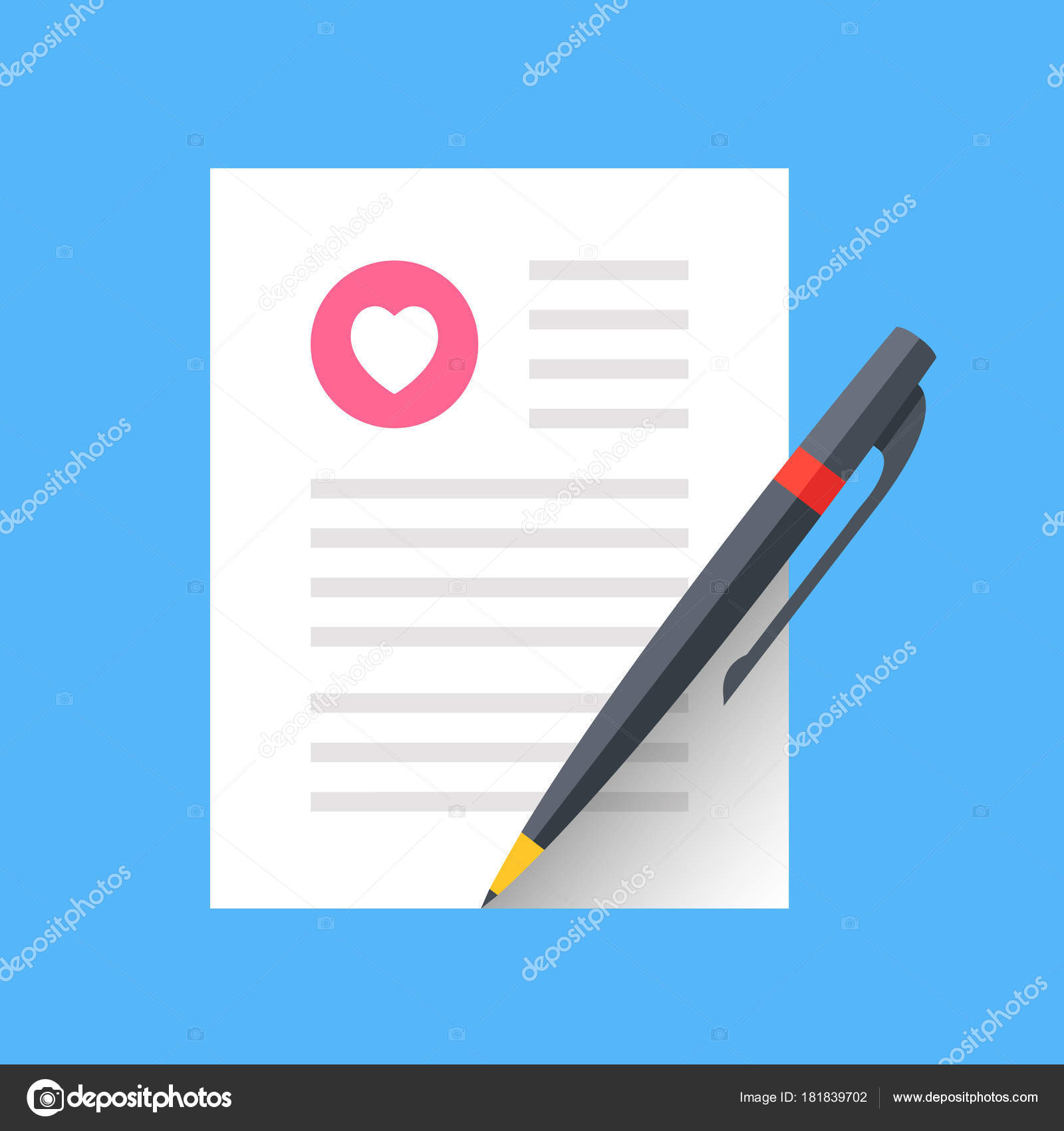 Love Letter Marriage Contract Wedding Invitation Sheet Paper Pen