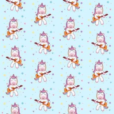 Cute Unicorn Playing Guitar seamless pattern Illustration, ready for print