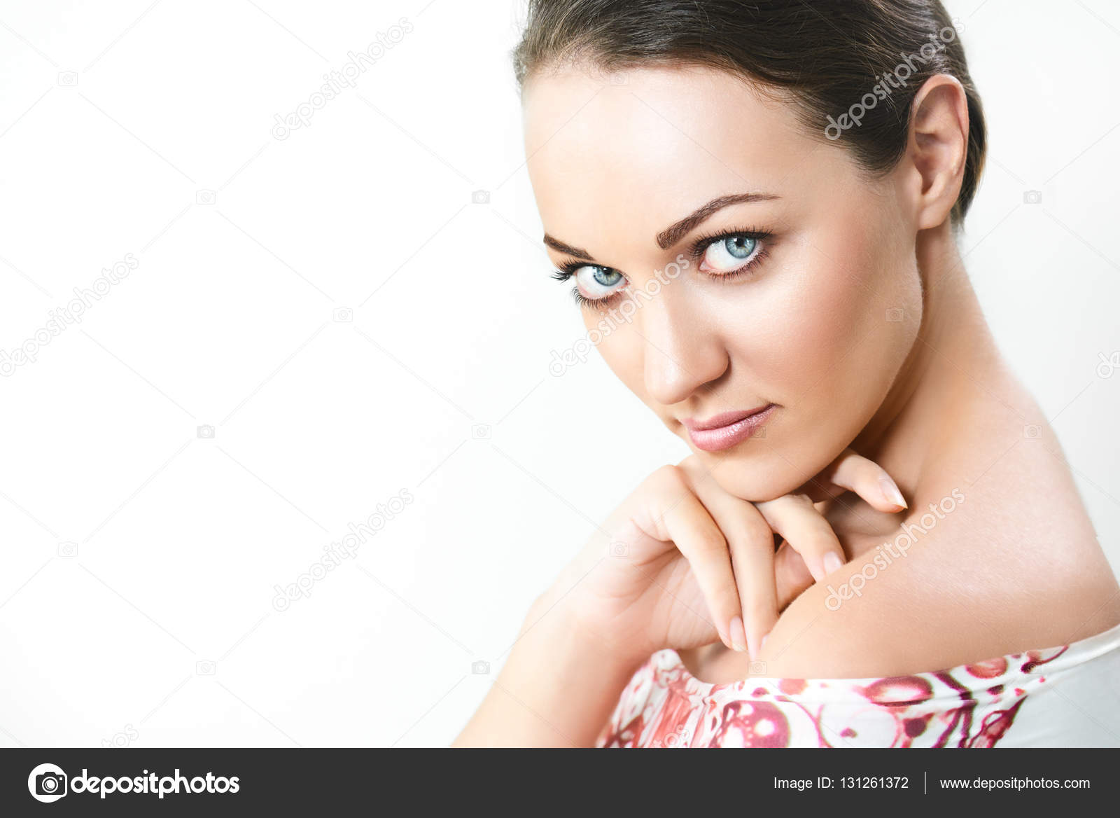 Portrait Pretty Girl With Big Eyes And Dark Eyebrows With Nake Stock Photo
