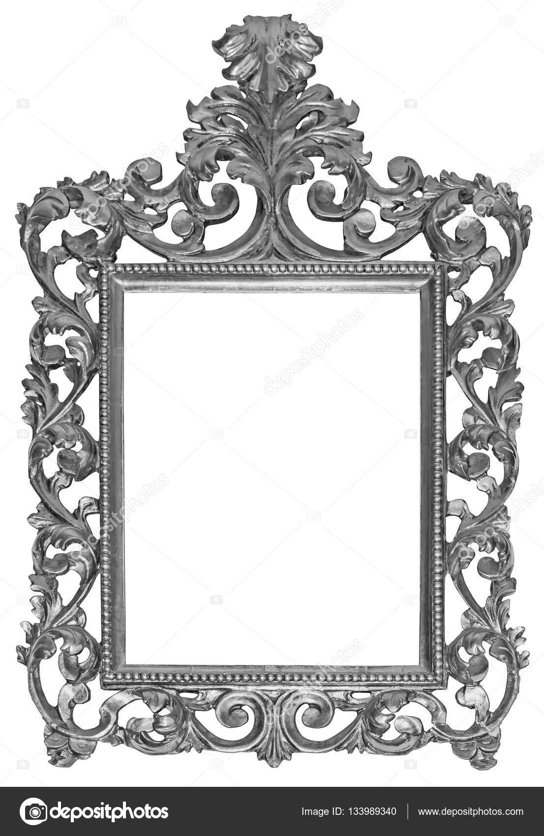 Antiguos plateado marco de madera aislado con trazado de recorte ...