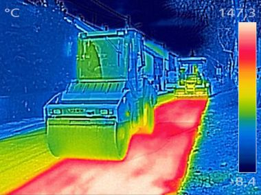 Infrared thermovision image Workers on Asphalting Road street