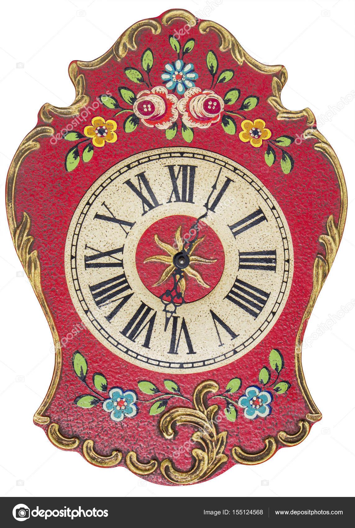 8e92b33e3c6 Relógio de parede pintado à mão do velho isolado no branco — Fotografia de  Stock