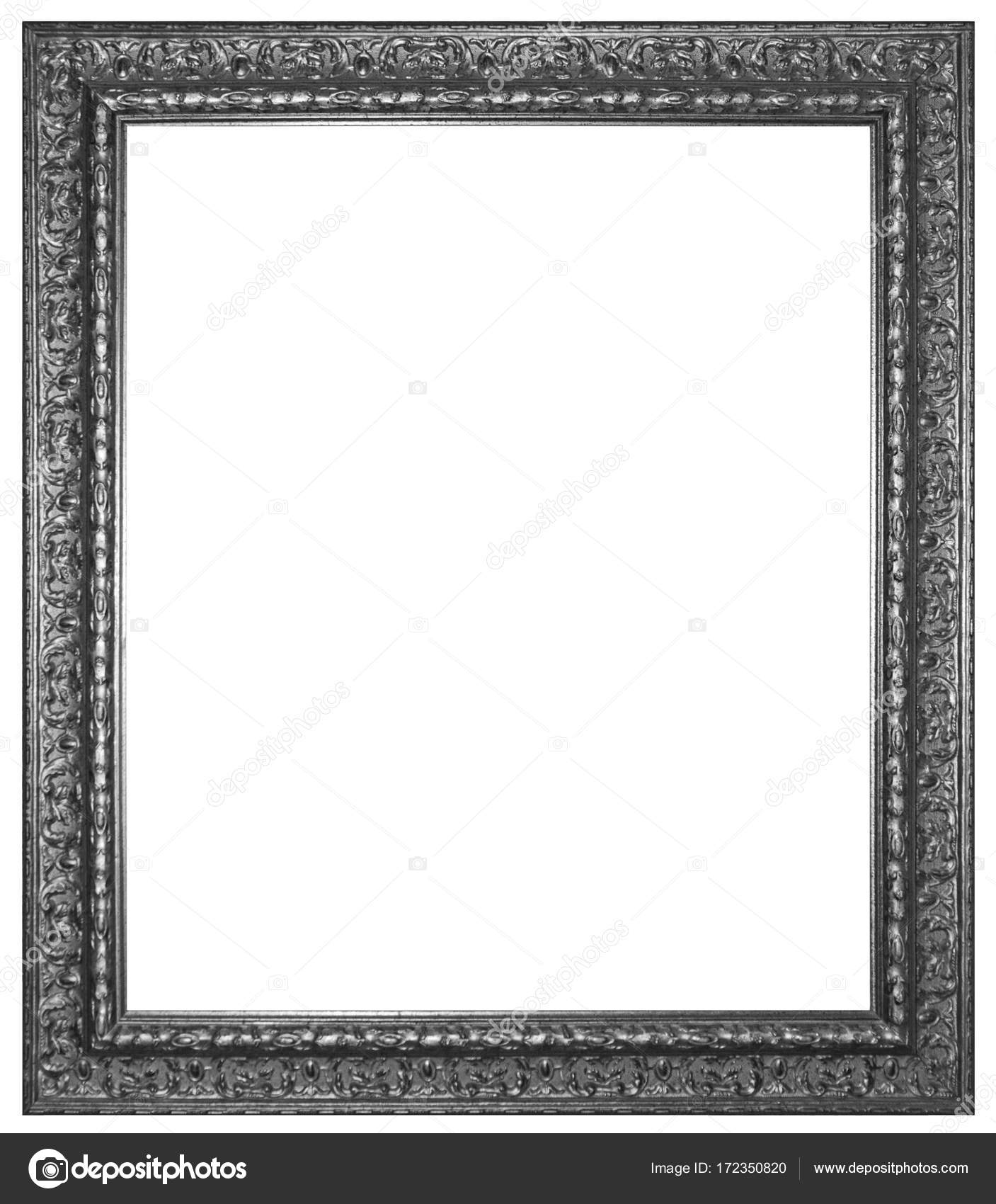 Silver wooden frame for painting or picture isolated on white ba ...