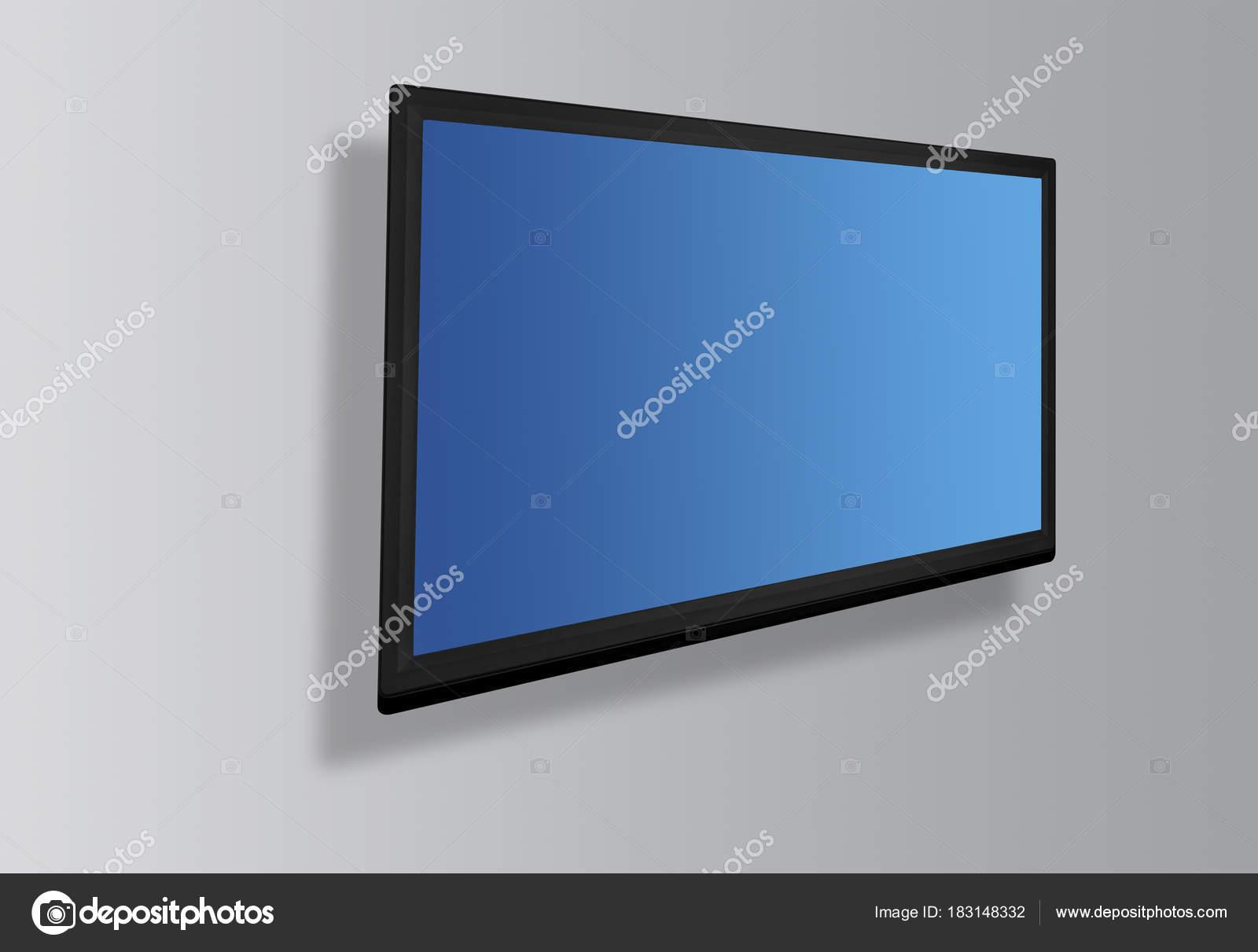 led oder lcd tv bildschirm h ngt an der wand hintergrund stockfoto smuki 183148332. Black Bedroom Furniture Sets. Home Design Ideas
