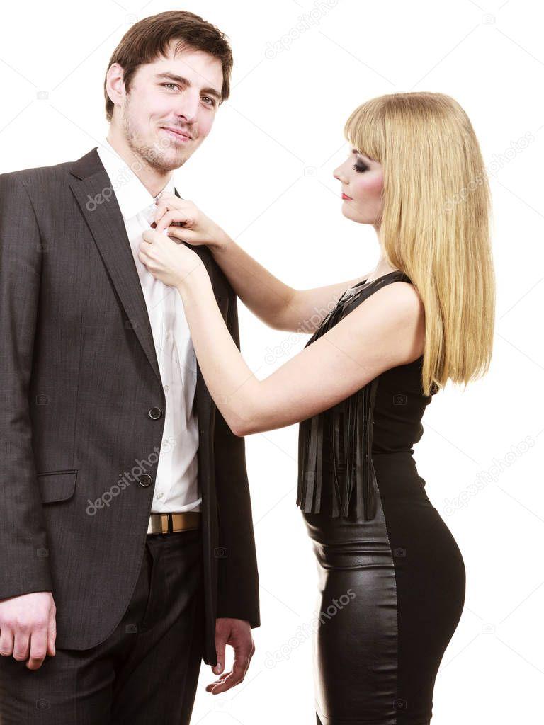 mujer a hombre de vestir ropa elegante u foto de stock
