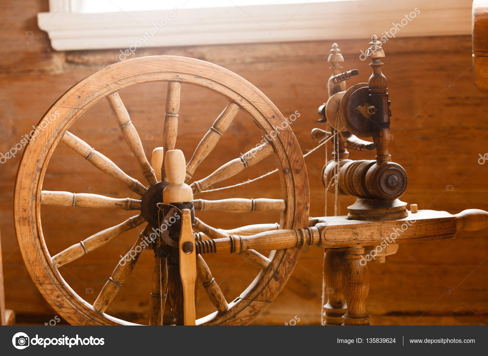Pictures Old Spinning Wheels Oldfashioned Wooden Distaff Spindle Spinning Wheel Stock Photo C Voyagerix 135839624