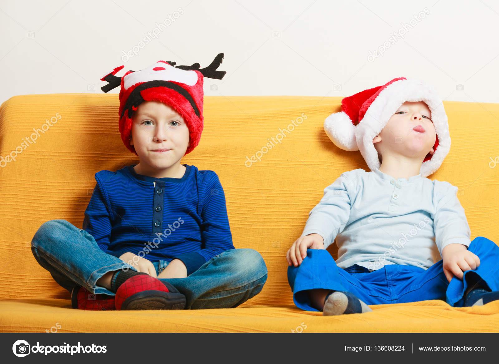 Two boys in sofa